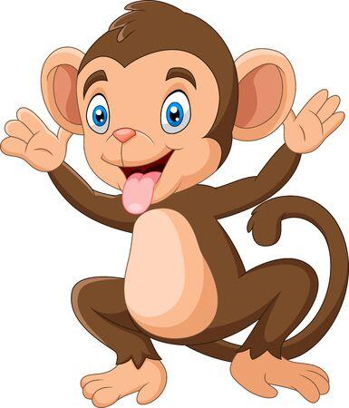 Dibujos animados mono feliz agitando la mano Ilustración de vector