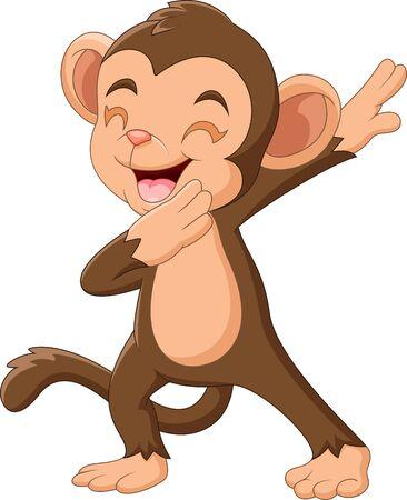 Dessin animé singe heureux agitant la main