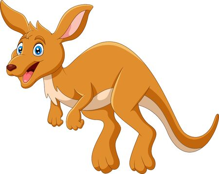 Cartoon funny happy jumping Kangaroo