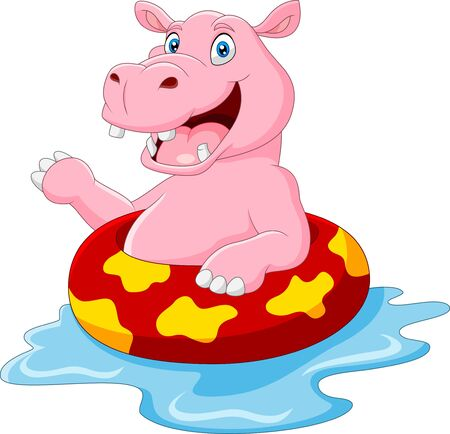 Cartoon hippo with inflatable ring Ilustracja