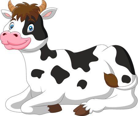 Cartoon funny cow a sitting