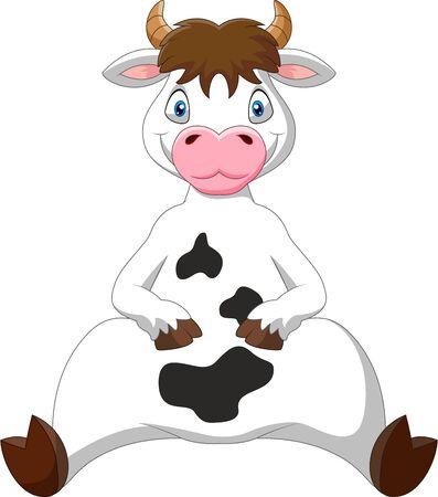 Kreskówka zabawna krowa siedzi Ilustracje wektorowe