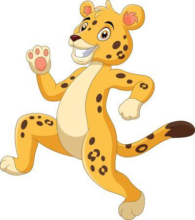 A cute cartoon cheetah running Ilustração