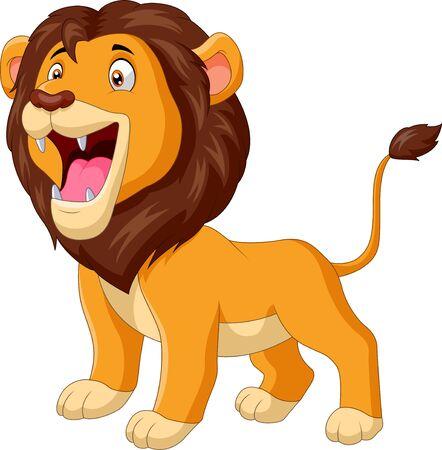 A cute cartoon lion roaring