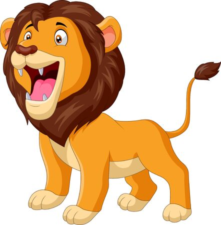 Un simpatico leone cartone animato ruggente