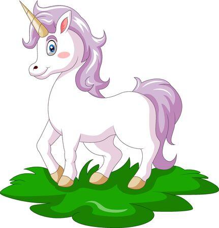 Un simpatico cartone animato di unicorno felice