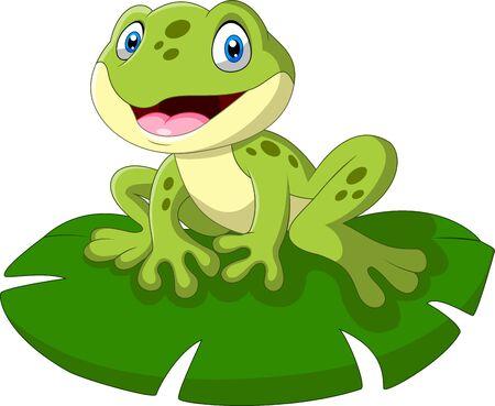 Ein niedlicher Cartoon-Frosch sitzt