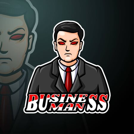 Businessman esport logo mascot design Logos