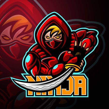 Ninja mascot sport esport logo design