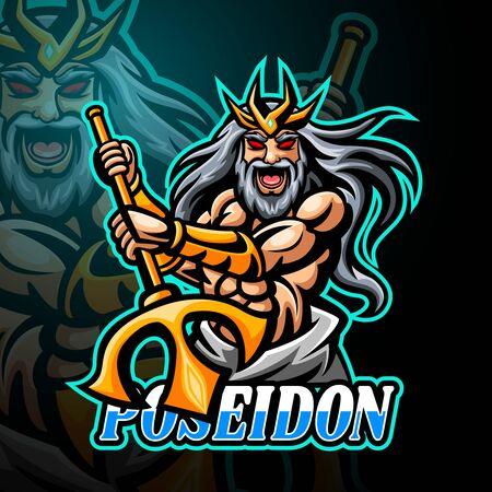 Poseidon mascot sport esport logo design Illustration