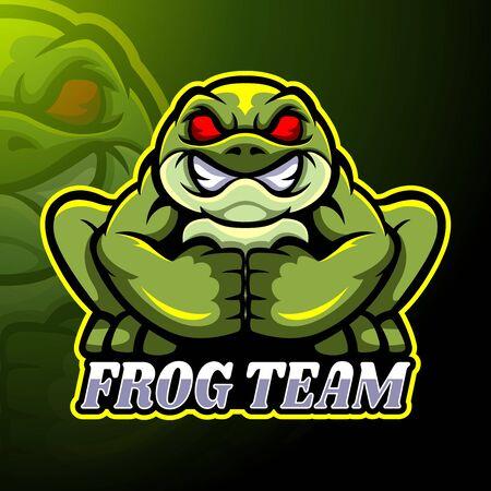 Frog esport logo mascot design Stock Illustratie