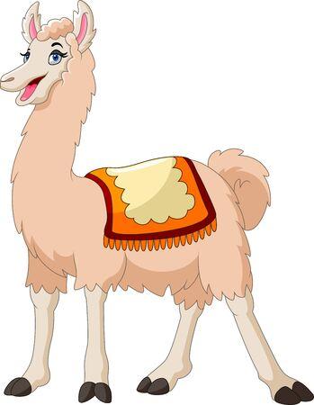 A Cute cartoon llama happy