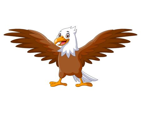 Cartoon eagle standing with wings extended