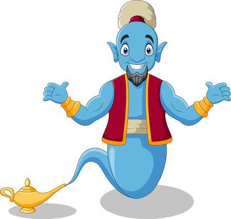 Cute cartoon genie appear from magic lamp