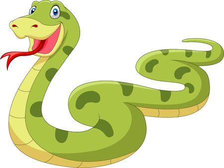 Cute cartoon snake is crawling