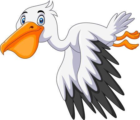 Cute cartoon pelican is flying