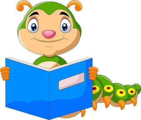 Cartoon cute caterpillar reading book