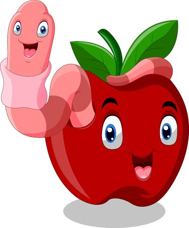 Cute Worm with red apple