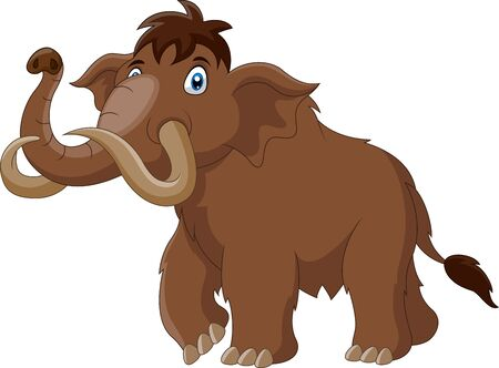 Cartoon mammoth walking cute happy