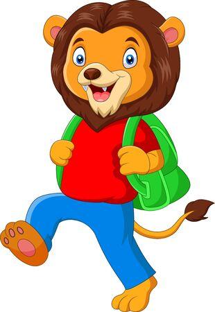 caricatura, divertido, león, ir a la escuela