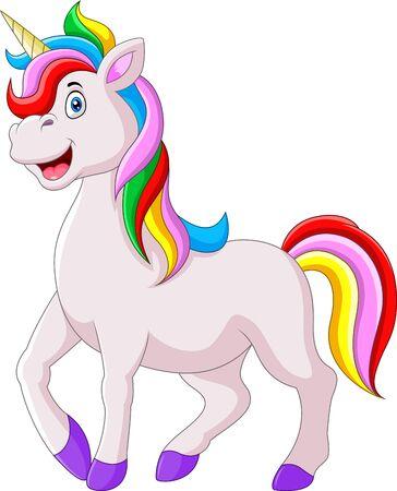 Beautiful unicorn cartoon funny happy