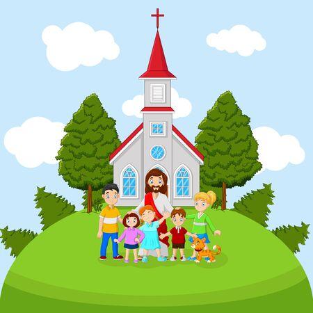 Cartoon Jesus with children in a church