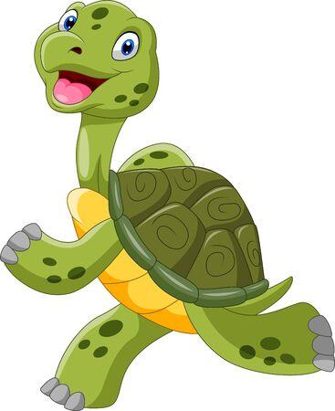 Cute cartoon turtle is running Ilustración de vector