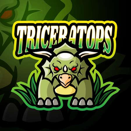 Triceratops esport logo mascot design