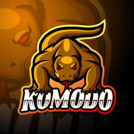 Komodo dragon esport logo mascot design Stock Illustratie