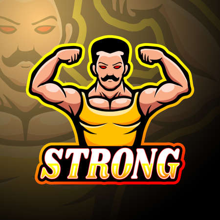 Muscle esport logo mascot design