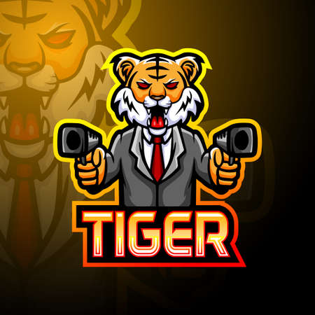 Tiger gun esport logo mascot design