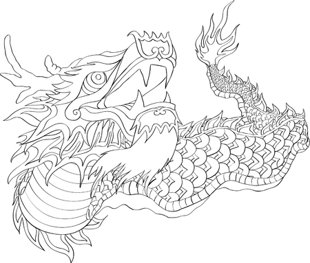 chinese new year dragon dance with line art style