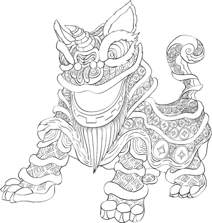 chinese new year lion dance with line art style