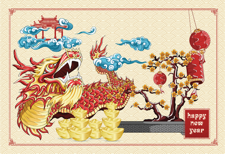Happy chinese new year dragon dance and flowers new year golden ingots illustration on background asia pattern