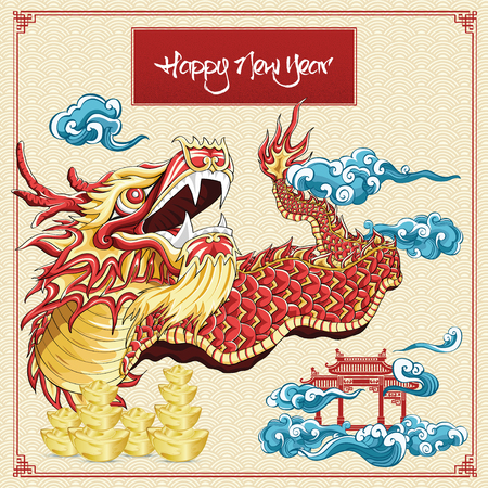 Happy chinese new year dragon dance cloud and golden ingots illustration on background asia pattern Çizim