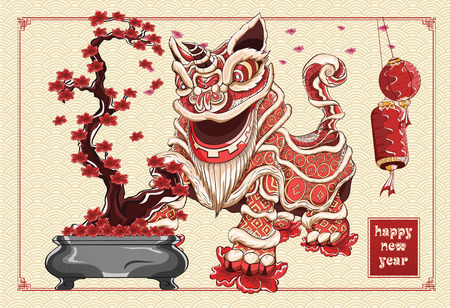 Happy chinese new year lion dance and flowers illustration by line art vector color on background asia pattern Illustration