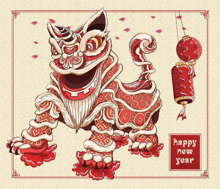 Happy chinese new year lion dance lanterns and flowers illustration by line art vector color on background asia pattern Illustration