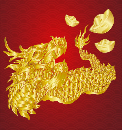 Happy chinese new year with dragon and ingots with line art gold texture illustration