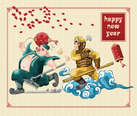 Happy chinese new year with journey to the west illustration on background new year, year of the pig, wukong run and angry
