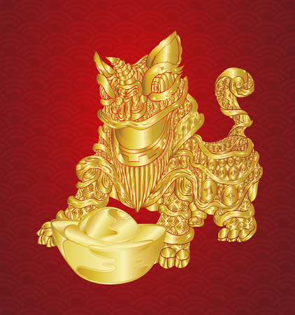 Happy chinese new year with lion and ingots with line art gold texture illustration