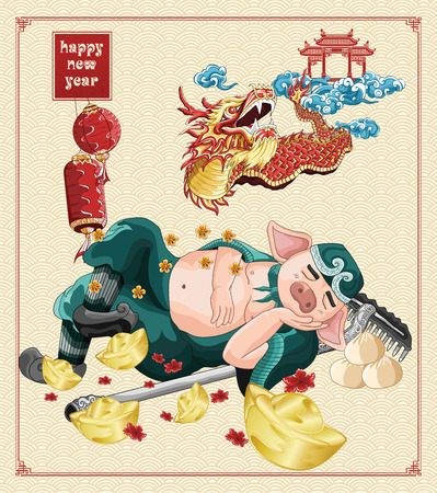 Happy chinese new year with zhu bajie sleeping and dragon dance illustration on background new year, year of the pig 2019