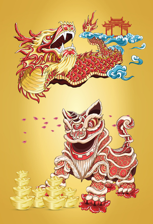 Happy new year with animal mythology illustration by line art color styles Illustration