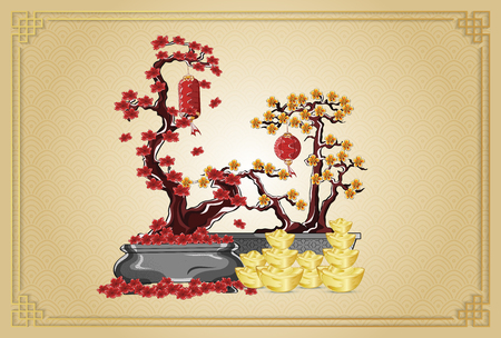 Happy new year with flowers golden ingots and lanterns illustration by line art color on background gold