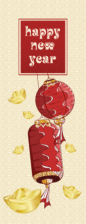 Happy new year with lanterns and golden ingots illustration on background asia pattern Illustration