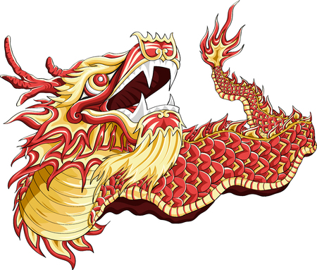 Illustration a Dragon Dance for Chinese New Year  with line art color style