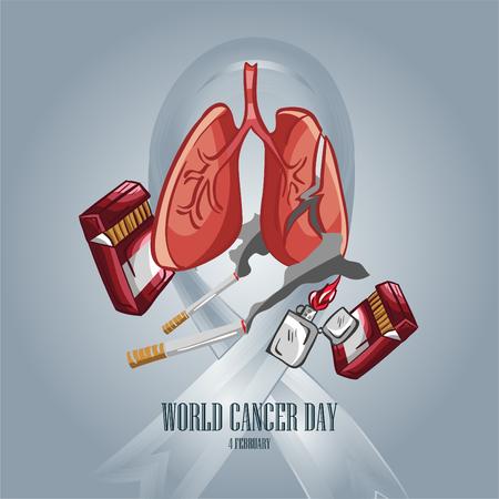 world cancer day illustration elements vector color line art - Vector Illustration