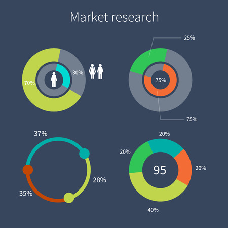 segmented: Set of colorful diagrams market research. With set of Icons. Vector design