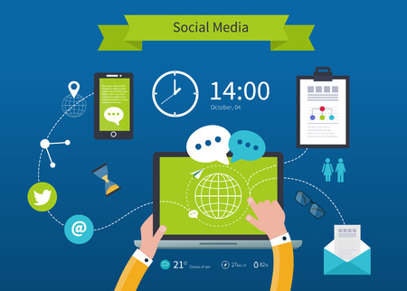 social media marketing: Business concept flat icons set of cloud computing analytic social media and creative process design elements vector illustration
