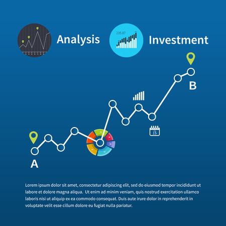 Platte vector illustratie van web analytics informatie en investeringen, groei grafiek