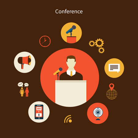 congresses: Business concept flat icons set of meeting conference infographic design elements vector illustration